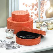 Set of 3 Tangerine Orange Round Keepsake Trinket Boxes  - $32.95