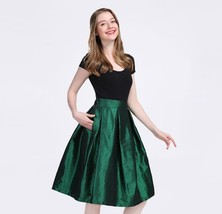 EMERALD GREEN A Line Ruffle Midi Pleated Skirt Women Plus Size Pleated Skirts image 1