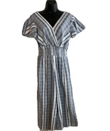 J Gee Striped White  Blue Striped Overalls Romper Jumpsuit Wide Leg NWT ... - $18.66