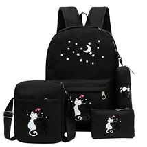4Pcs Cat Backpack Casual Canvas School Backpack Kids BookBags for Girls - $30.99