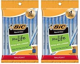 BIC Round Stic Xtra Life Ball Pen, Medium Point 20 Count, Blue - €11,10 EUR
