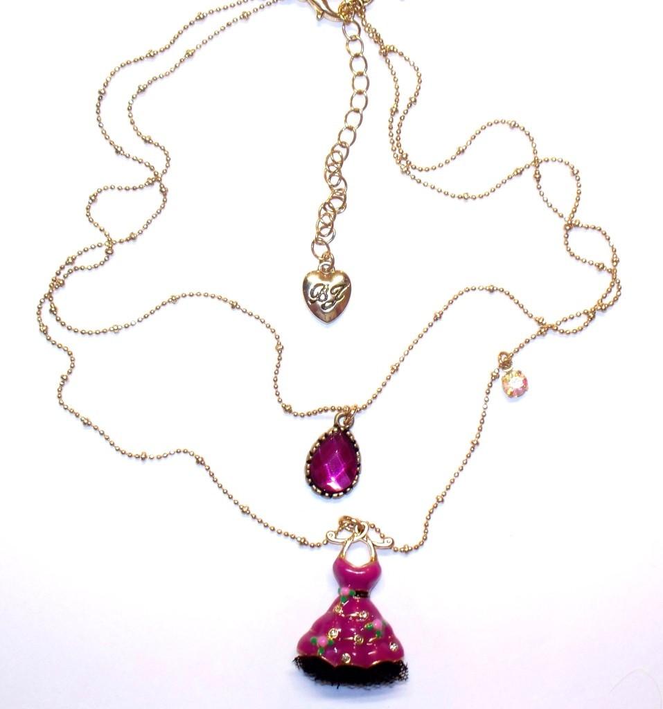 Betsey Johnson Varsity Crush Double Drop Necklace NWT B03450