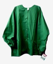 Hunter Green Warm Up Jacket PRN Uniforms 5XL Snap Front Scrubs Round Nec... - $21.31