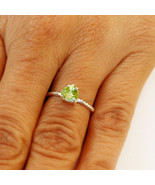 Peridot Heart Ring Sterling Silver  Wedding Rings For Women August Birth... - $32.99