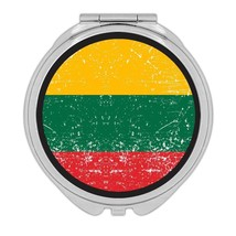Lithuania : Gift Compact Mirror Flag Retro Artistic Lithuanian Expat Cou... - $12.99