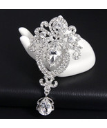 Bridal Wedding Rhinestone Crystal Dangle Chandelier Brooch Pin Jewelry - $5.89