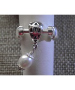 925 Sterling Silver Charm Dangle Ring with Pearl Size 8 Movable - $33.33