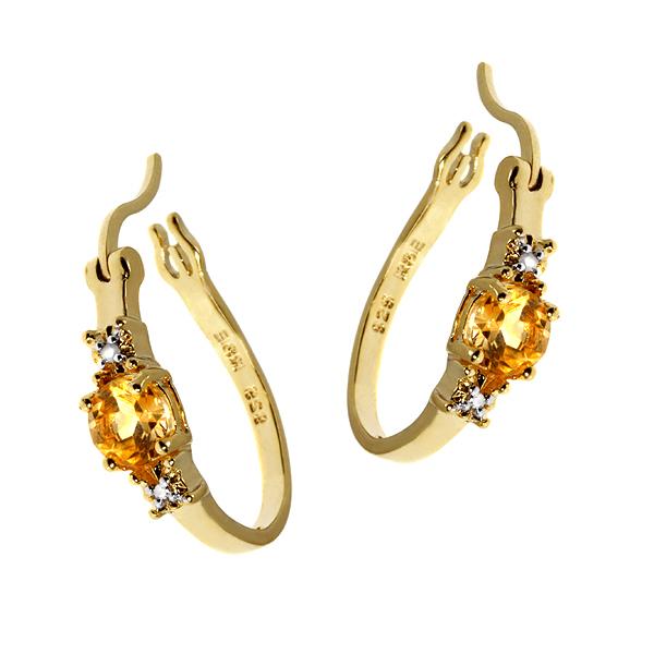 Citrine and diamond hoop earrings