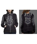 BLACK PANTHER LOGO HOODIE ZIPPER FULLPRINT WOMEN - $48.80+