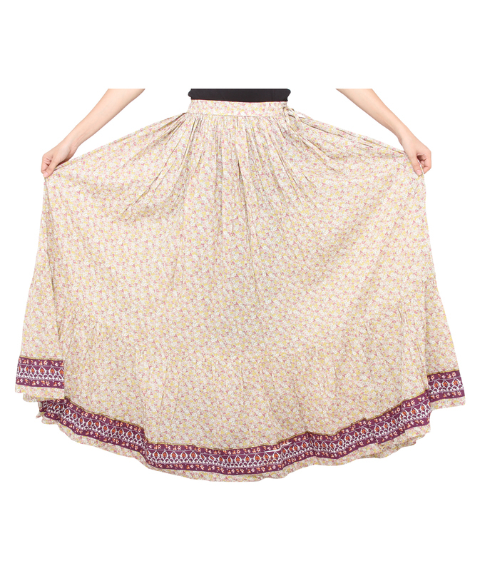 Pink Flower Jaipuri Skirt
