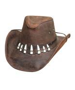 Crocodile Dundee! Bullhide Leather Brown Hat With 7 Imitation Gator Teet... - $95.00