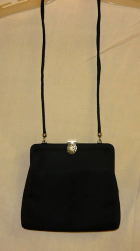 Black vintage Evening Bag with Silver Rhinstoned Clasp