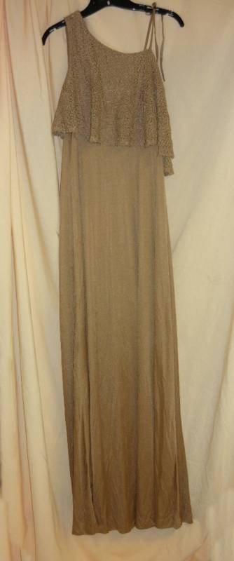 Brown Sugar vintage Gown One Shoulder Crocheted top Long -10 Tall