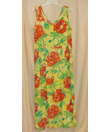 Yellow Floral Print Long Vintage Dress-M - $24.88