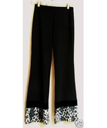 Black Stretch w/ Leopard vintage Go Go Pants -S - $24.88