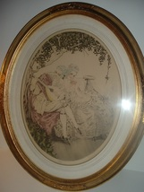 Courting Couple Framed Oval Print Vintage - $95.00