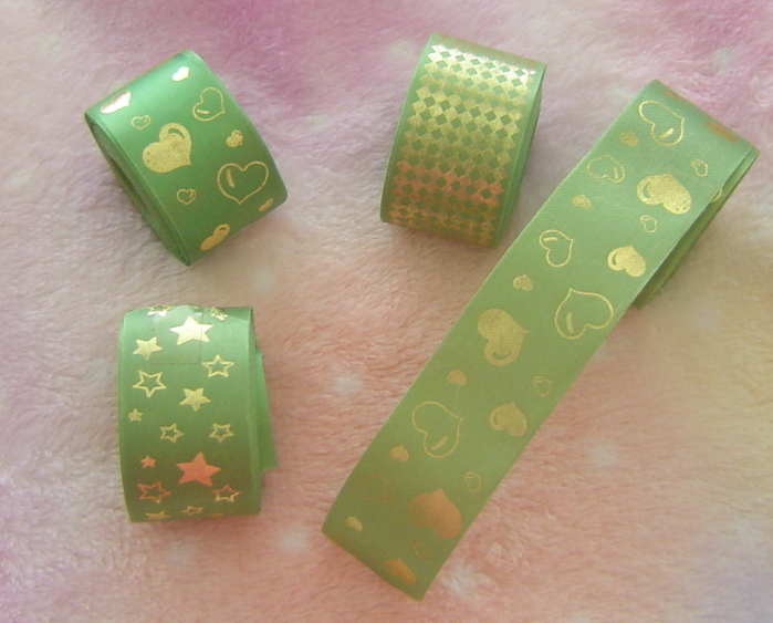 Set of 4 New Green and Gold Ribbon Rolls Unbranded