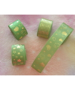 Set of 4 New Green and Gold Ribbon Rolls - $5.00