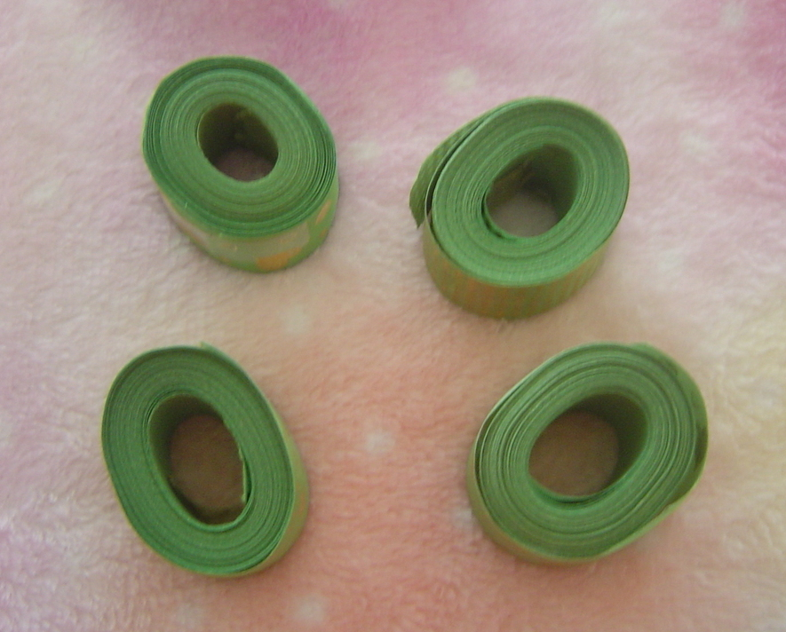 Set of 4 New Green and Gold Ribbon Rolls