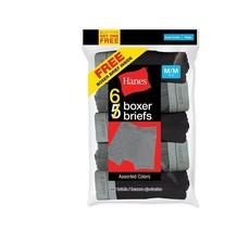 Hanes Boy's 6-Pack Boxer Briefs - Assorted Colors Medium M/M 10-12 - $15.83