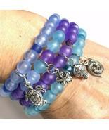 Sea Glass Frost Stack Bracelets Set 4 Blue Teal Purple Multi Handcrafted... - $29.69