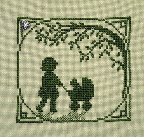 Primary image for Kitty Buggy Ride Summer Silhouette with charm cross stitch chart Handblessings