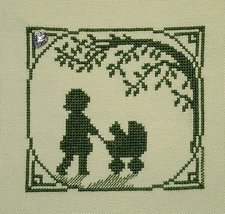 Kitty Buggy Ride Summer Silhouette with charm cross stitch chart Handblessings - $5.00