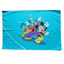 Vintage Disney Turquoise Pillowcase Mickey Mouse Goofy Donald Daisy Minn... - $21.98