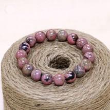 STENYA 6-8mm Stretch Bracelet Elastic Cord Gem Natural Stone Pink Black Expandab - $15.98