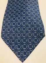 """Hermes Paris Blue Chain 7299 EA Silk Luxury Tie 59"""" 150cm 3.75"""" 9.5 France  - $123.75"""