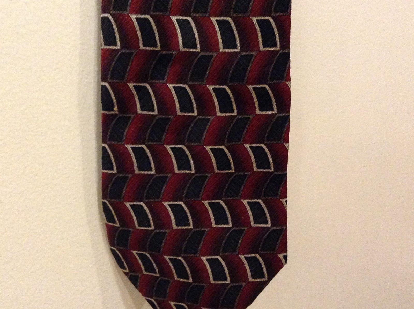 Geoffrey Beene Red Black Silver Curved Rectangular Pattern Silk Neck Tie