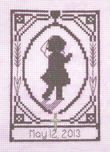 First Communion Girl Silhouette with charm cross stitch chart Handblessings - $5.00