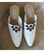 8.5 M Diane Gilman White Leather Clog Mule Boot... - $5.00