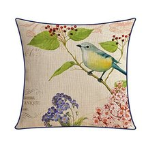 Kylin Express American Pastoral Thick Cotton Pillow Case Bird, A - $20.58