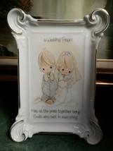 PRECIOUS MOMENTS WEDDING PRAYER PLAQUE 1978 GLAZED PORCELAIN by Jonathan... - $24.26