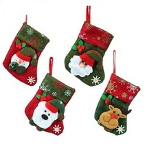 Christmas Stockings Socks New Year Santa Claus Candy Gift Bag Xmas Tree ... - $1.99