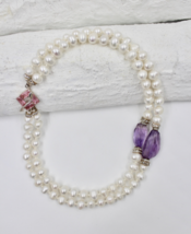White pearls, amethyst, rhinestone and pink Swarovski necklace - $255.00