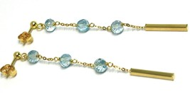 18K YELLOW GOLD PENDANT EARRINGS, FACETED AQUAMARINE, TUBES, LENGTH 2.6 INCHES image 2