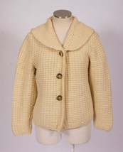 Vtg 70s Retro Beige Tan Cream Wool Blend Chunky Knit Cardigan Sweater Ja... - $34.64