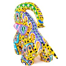 "Handmade Alebrijes Oaxacan Painted Carved Wood Folk Art Elephant 6"" Figure image 2"