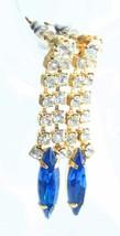 Prong-set Blue & Crystal Rhinestone Gold-tone Pierced Earrings 1980s vin... - $12.30