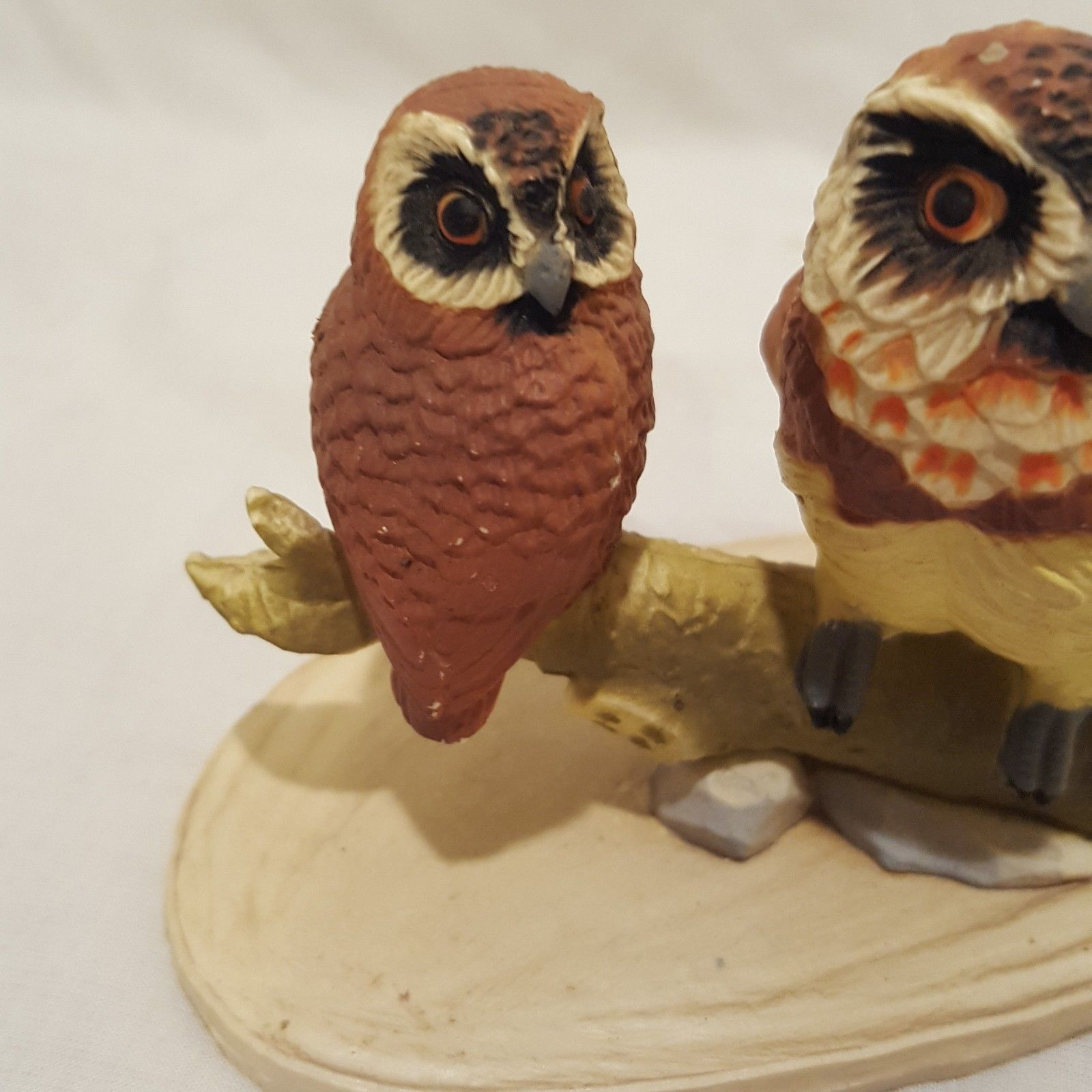 "Vintage Owls Sitting on Branch Figurine Resin Brown 2"" Male Female"