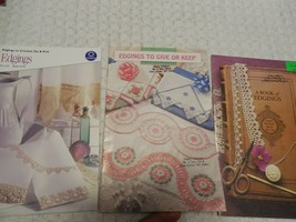Lot of 3 Edgings Booklets  Crochet Tat Knit Patterns Beautiful Edging - $4.50