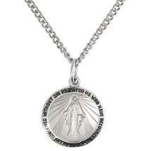 Sterling Silver Rhodium Plated Miraculous Medal Virgin Mary Necklace - $46.75