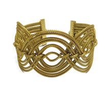 Geometric Wide Cuff Bracelet, Wide Braided Cuff Bracelet, Handcrafted, G... - $35.00