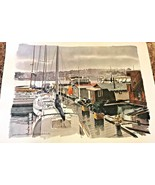 PAUL N NORTON MCM Watercolor Print Seattle Washington Lake Union Waterfront - $27.90