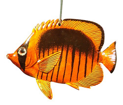 Carribean Sea Hanging Tropical Brown Surgeon Fish Christmas Ornament 4 inch - $15.76