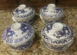 4 Rice Soup Casserole BOWLS- Lids& Handles! White Porcelain Chinese Blue... - $21.78