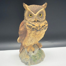VINTAGE OWL FIGURINE porcelain statue sculpture bird brown barn Andrea S... - $54.45