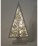 "16"" Tall LED Lighted Laser Cut Wood Tree Tabletop Christmas Decor - $31.63"